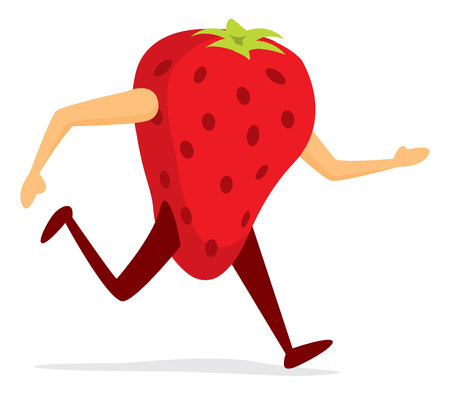 Cartoon illustration of red strawberry running or excerscising