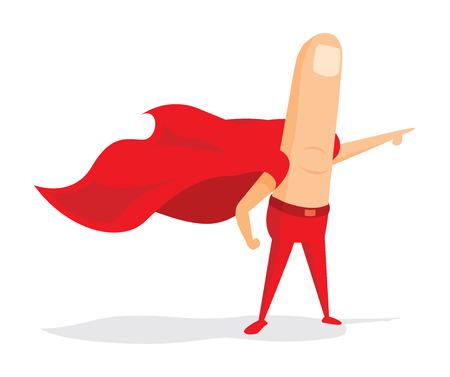 Cartoon illustration of clicker finger super hero with cape