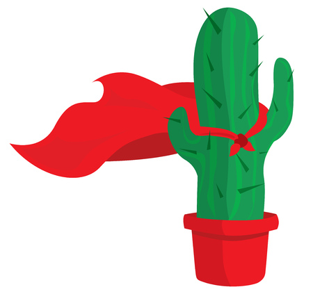 Cartoon illustration of cactus with cape as super hero Çizim