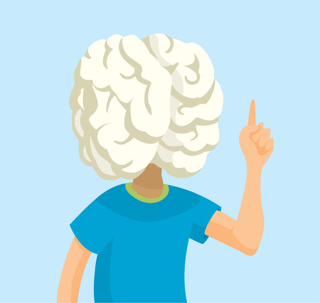 Cartoon illustration of brainy man showing off intelligence Ilustrace