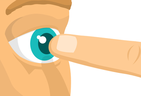 Cartoon illustration of menacing poking finger extremely close to eye Illustration