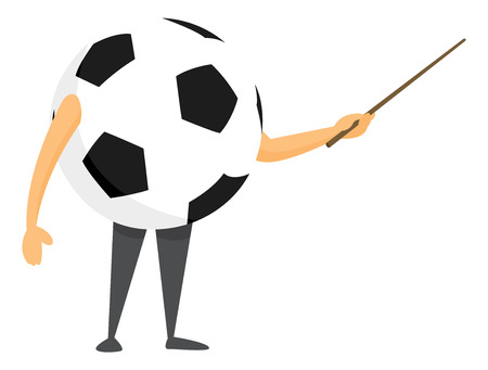 Cartoon illustration of football or soccer ball giving strategy and tactics