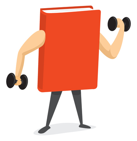 Cartoon illustration of strong book lifting weights
