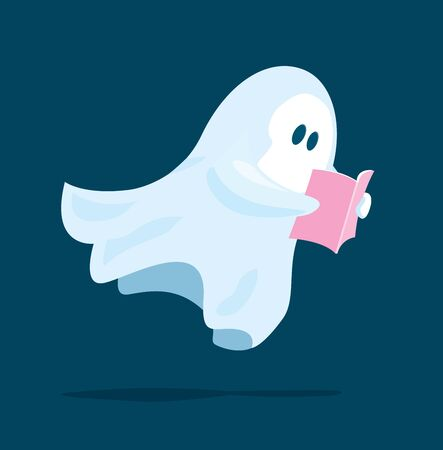Cartoon illustration of cute ghost floating while reading a book