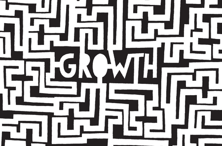 entrepeneur: Cartoon illustration of growth word in a complex maze