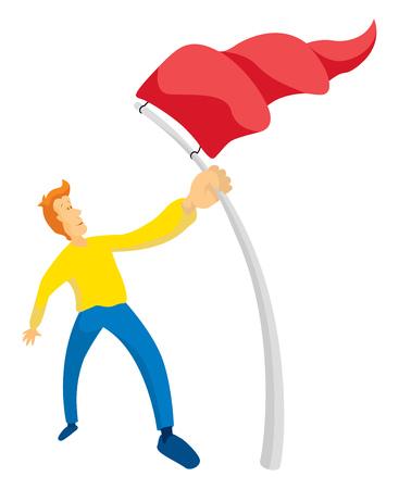 capturing: Cartoon illustration of man holding a red flag conquering objectives Illustration