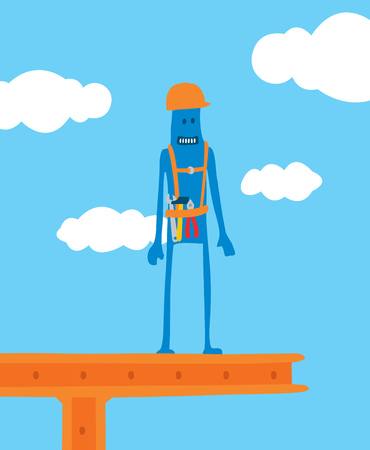 Cartoon illustration of construction worker standing on site