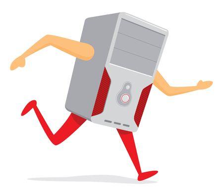 Cartoon illustration of funny pc running or escaping Illustration