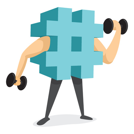 Cartoon illustration of hashtag trending or working out Illustration