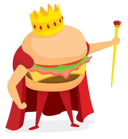 Cartoon illustration of hamburger or fast food king wearing a crown