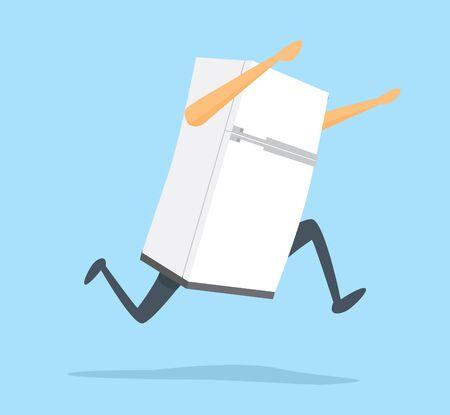 Cartoon illustration of white fridge fleeing fast