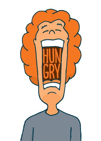 Cartoon illustration of hungry man with huge open mouth