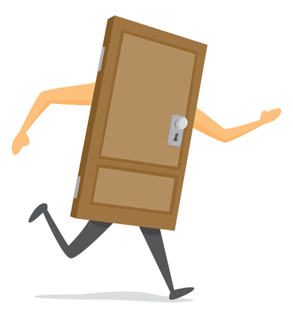 Cartoon illustration of wooden door on the run