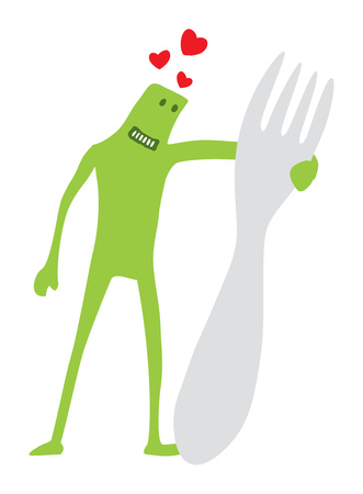 Cartoon illustration of funny doodle character hugging a giant fork Stock Vector - 81872536