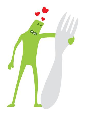 Cartoon illustration of funny doodle character hugging a giant fork