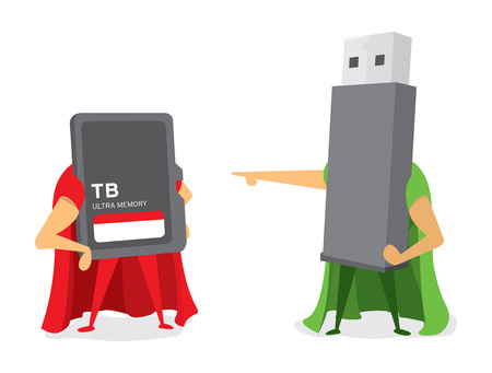 Cartoon illustration of technology battle between flash drive and memory card Illustration