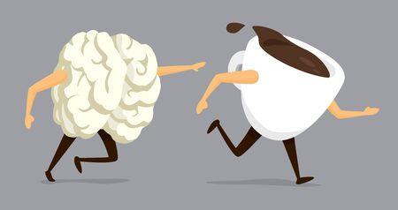Cartoon illustration of coffeholic brain chasing coffee