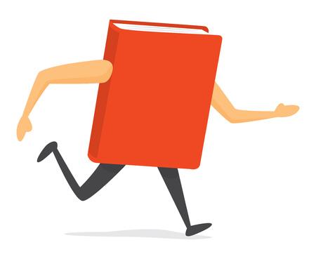 漫画イラストの赤い本を実行している、または急いで
