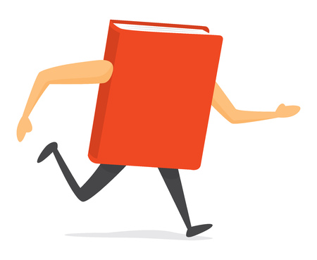 Cartoon illustration of red book running or in a hurry