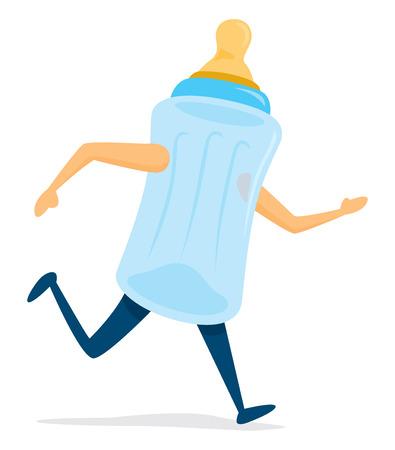 Cartoon illustration of baby bottle on the run