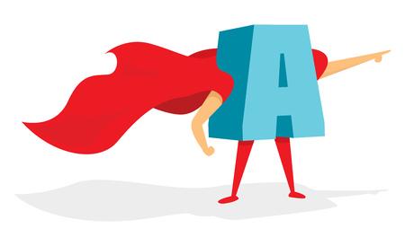 Cartoon illustration of brave letter super hero with cape Illustration