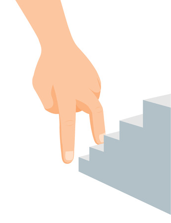Cartoon illustration of ambitious hand climbing up stairs