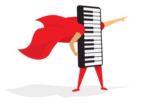 Cartoon illustration of music super hero piano keyboard saving the day