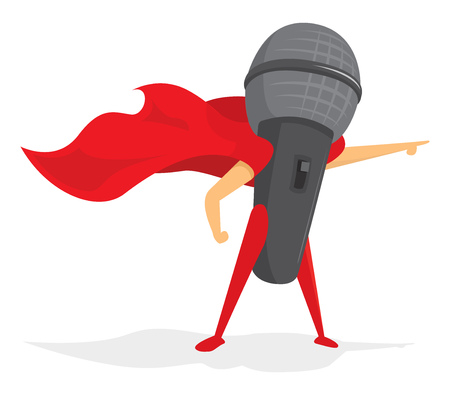 Cartoon illustration of microphone super hero with cape Illustration