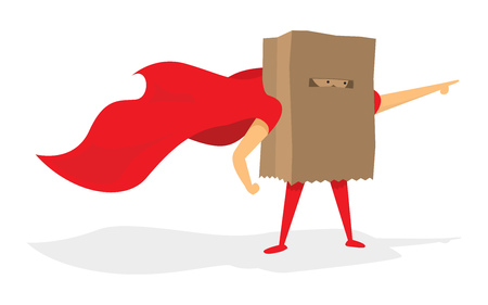 Cartoon illustration of super hero covered with paper bag