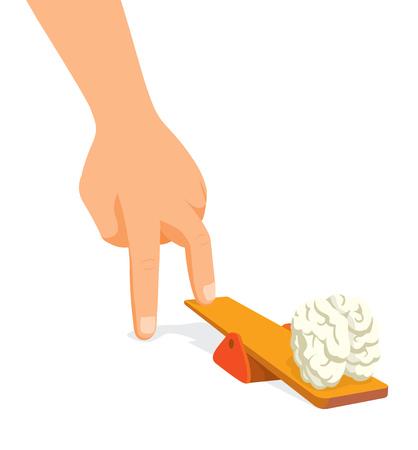 두뇌를 자극하는 트램폴린에 스테핑 손의 만화 그림