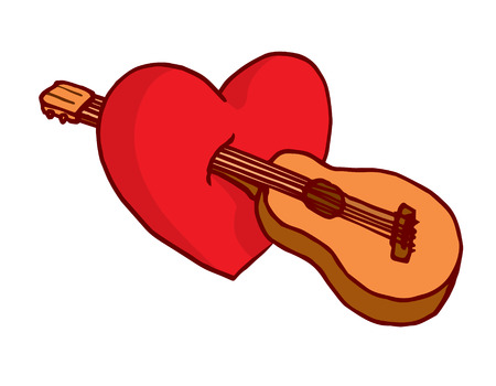 Cartoon illustration of acoustic guitar stabbing heart