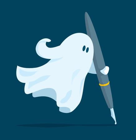 Illustrazione del fumetto dello scrittore di fantasmi galleggiante che tiene una penna