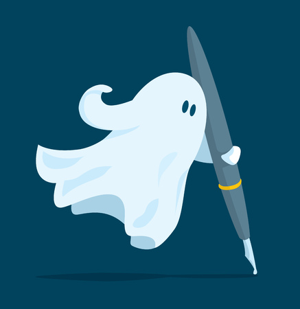 Cartoon illustration of floating ghost writer holding a pen