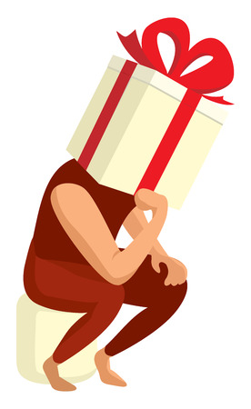 concerned: Cartoon illustration of funny gift box thinking hard