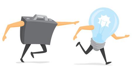 Cartoon illustration of business portfolio chasing a light bulb or idea