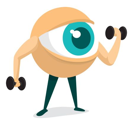 foresee: Cartoon illustration of eye lifiting weights training