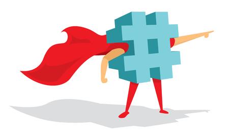 Ilustración de dibujos animados de super hashtag de pie con el cabo Ilustración de vector