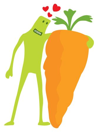 Cartoon illustration of funny doodle character hugging a carrot
