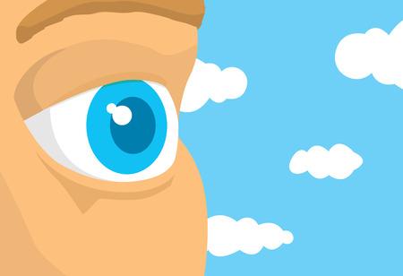푸른 하늘에서 찾고 열린 눈 세부의 만화 그림 일러스트