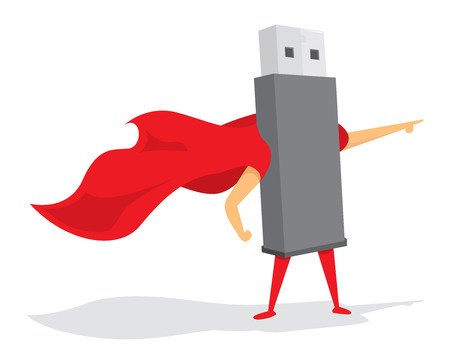 Cartoon illustration of flash drive standing with cape