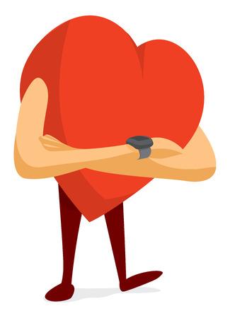 Cartoon illustration of nervous heart waiting for love