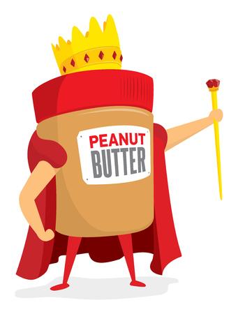 Cartoon illustratie van pindakaas koning of mascotte