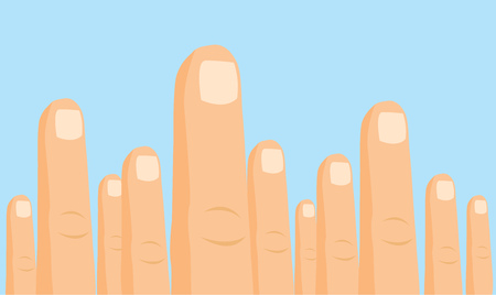 Cartoon illustration of funny index fingers protest