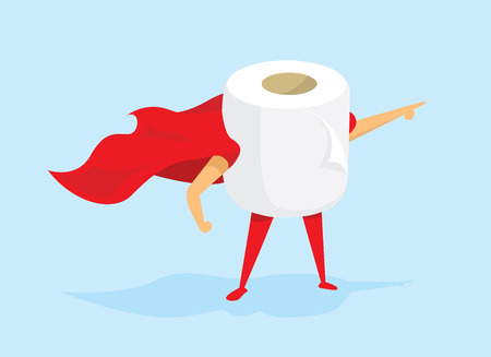 Cartoon illustration of toilet paper super hero saving the day