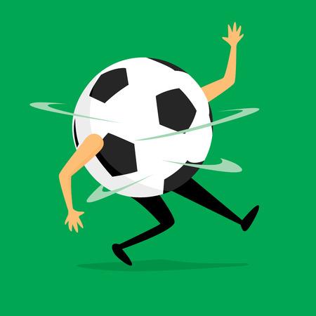 futbol soccer: Cartoon illustration of funny soccer ball dizzy after game
