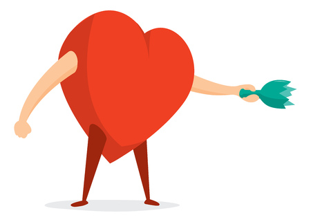 Cartoon illustration of passionate heart swinging a broken bottle