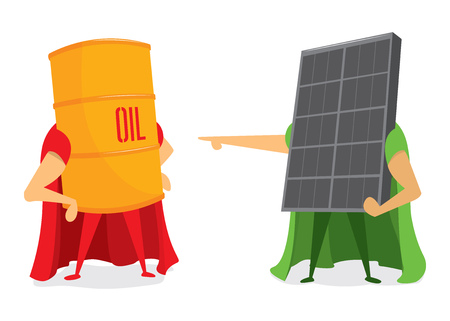 Cartoon illustration of energy battle between oil and solar panel Çizim