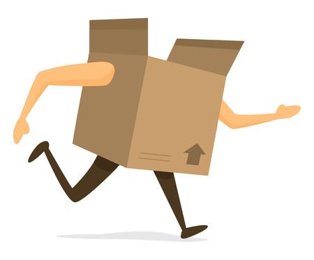 実行時に段ボール箱の漫画イラスト  イラスト・ベクター素材
