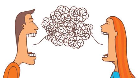 Beeldverhaalillustratie van paar het spreken die proberen te communiceren