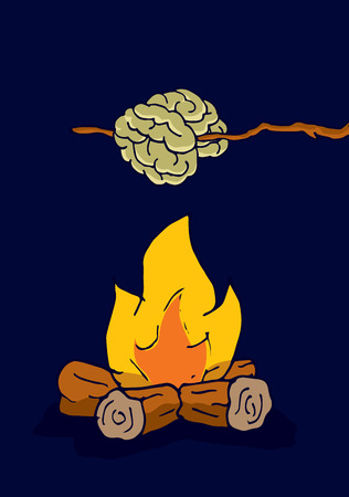 Cartoon illustration of funny brain getting cooked on camp fire